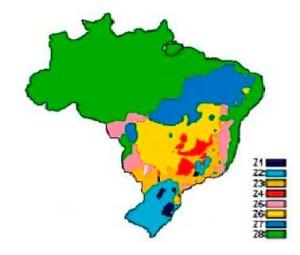 Mapa do Brasil com o zoneamento bioclimático segundo a ABNT NBR 15.220-3