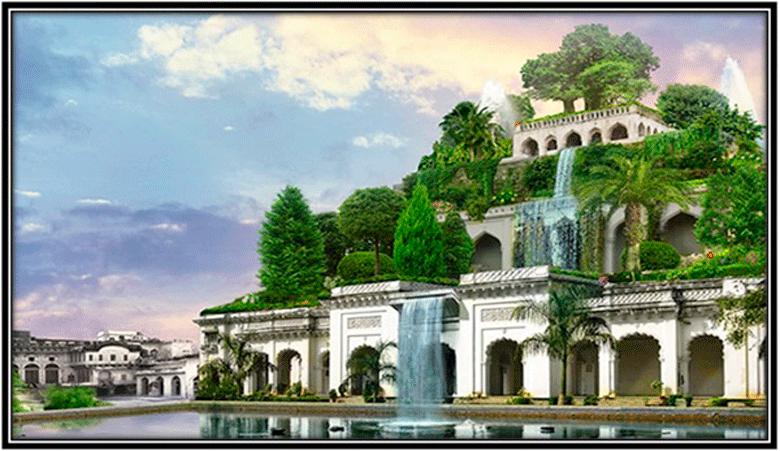 Desenho dos Jardins Suspensos da Babilônia, primeiro exemplo de paredes verdes.